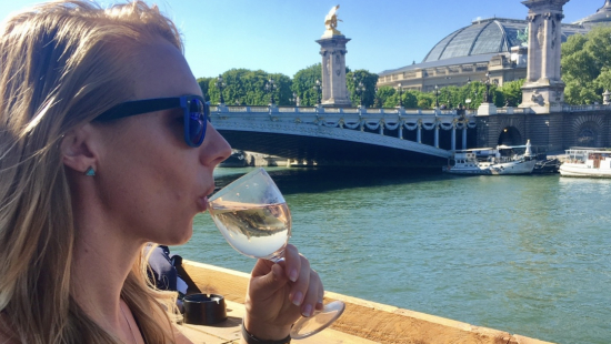 Sipping wine in Paris